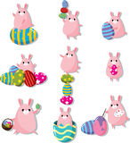 Cartoon easter rabbit and egg icon Stock Photos