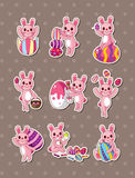Cartoon easter rabbit and egg  stickers Royalty Free Stock Images