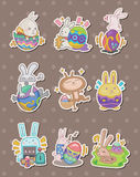 Cartoon easter rabbit and egg stickers Royalty Free Stock Photo