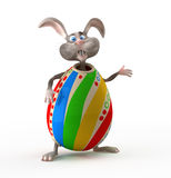 Cartoon Easter rabbit in egg suit. Royalty Free Stock Photography