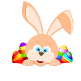 Cartoon easter rabbit holding an easter egg Royalty Free Stock Image