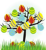 Cartoon easter tree with eggs Stock Images