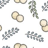 Cartoon eco friendly cotton pads and leaves cute seamless pattern. Go green life royalty free illustration