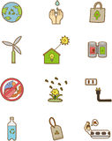 Cartoon eco icon. Drawing Stock Photography