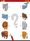 Cartoon education game of halves Royalty Free Stock Image