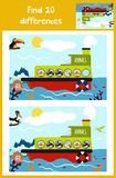 Cartoon of Education to find 10 differences. In children's pictures of the boat with the animals of the wild jungle among marine fish, plants . Matching Game Stock Image