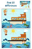 Cartoon of Education to find 10 differences in children's pictures, the boat floats with forest animals around the Antarctic and g Royalty Free Stock Photos