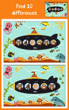 Cartoon of Education to find 10 differences in children's pictures submarine floats with animals among marine fishes and inhabitan. Ts . Matching Game for Royalty Free Stock Photography