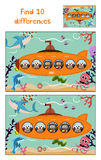 Cartoon of Education to find 10 differences in children's pictures submarine floats with forest animals among marine fishes and in Stock Photo