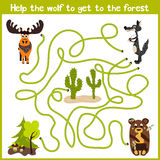 Cartoon of Education will continue the logical way home of colourful animals. Bring the gray wolf home to the fairy forest on the Royalty Free Stock Image