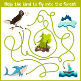 Cartoon of Education will continue the logical way home of colourful animals. Help the bird Nightingale to get home in the wild fo Stock Images