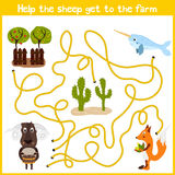 Cartoon of Education will continue the logical way home of colourful animals. Help this cute sheep to get home on a agricultural f Royalty Free Stock Photos