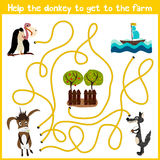 Cartoon of Education will continue the logical way home of colourful animals. Help the donkey to get home in the barnyard. Matchin Royalty Free Stock Image