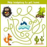 Cartoon of Education will continue the logical way home of colourful animals.Help forest hedgehog to bring a mushroom home in the Royalty Free Stock Photos