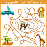 Cartoon of Education will continue the logical way home of colourful animals.Help giraffe to get home to the territory of the Sava Royalty Free Stock Photos