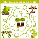 Cartoon of Education will continue the logical way home of colourful animals. Help little raccoon to get home in the wild forest. Royalty Free Stock Images
