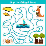 Cartoon of Education will continue the logical way home of colourful animals. Help the little yellow fish swim home into the ocean Stock Image