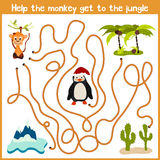 Cartoon of Education will continue the logical way home of colourful animals.Help me get the cute naughty monkey home in a tropica Royalty Free Stock Photography