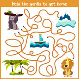 Cartoon of Education will continue the logical way home of colourful animals.Help me get the gorilla home in the tropical jungle o Stock Photography