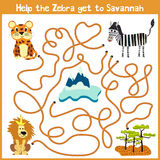 Cartoon of Education will continue the logical way home of colourful animals.Help me get the little Jaguar home in the African Sav. Annah. Matching Game for Royalty Free Stock Photography