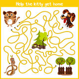 Cartoon of Education will continue the logical way home of colourful animals.Help me get the little kitty home by predatory animal Royalty Free Stock Photo