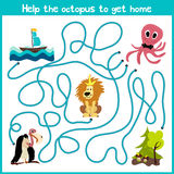 Cartoon of Education will continue the logical way home of colourful animals.Help the octopus to reach home at the bottom of the o Royalty Free Stock Photos