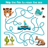 Cartoon of Education will continue the logical way home of colourful animals.Help take the fish home in the sea right on the strea Royalty Free Stock Photos