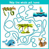 Cartoon of Education will continue the logical way home of colourful animals.Help the whale to swim into the water home right on t Royalty Free Stock Images