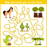 Cartoon of Education will continue the logical way home of colourful animals. Spend a nice home on horse farm on the right track. Matching Game for Preschool Royalty Free Stock Images