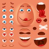 Cartoon egg 3d smiley face vector character creation constructor. Emoji with emotions, eyes and mouthes set. Vector image Royalty Free Stock Photos