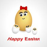 Cartoon egg girl and little eggs. Cartoon egg with face and some little eggs Royalty Free Stock Image