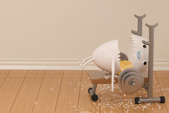 A cartoon egg has an accident when lifting weights,3D illustrati Royalty Free Stock Images