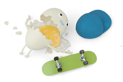 A cartoon egg has an accident when Skateboarding,3D illustration Royalty Free Stock Images