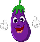 Cartoon eggplant giving thumbs up Stock Photography