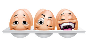 Cartoon eggs characters in an eggcup Stock Images