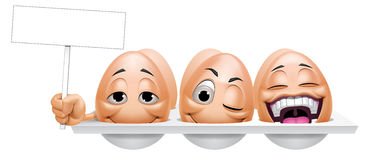 Cartoon eggs characters  holding a placard. Illustration of Cartoon eggs characters holding a placard Royalty Free Stock Images