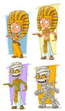 Cartoon egyptian young pharaoh and mummy character vector set Stock Images