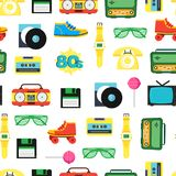 Cartoon Eighties Style Symbol Background Pattern on a White. Vector Royalty Free Stock Image
