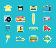 Cartoon Eighties Style Symbol Color Icons Set. Vector Stock Photos