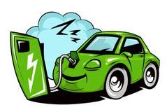 Cartoon electric car battery charging Stock Photo