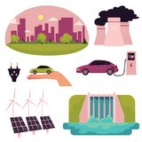 Cartoon electric car infographic elements Stock Images
