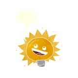 Cartoon electric light bulb with speech bubble Stock Photo