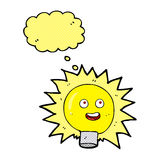 Cartoon electric light bulb with thought bubble Stock Images