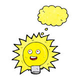 Cartoon electric light bulb with thought bubble Royalty Free Stock Images