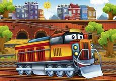 Cartoon electric train - train station Stock Photography