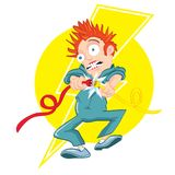 Cartoon electrician getting Stock Photography