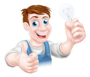 Cartoon electrician. A cartoon electrician holding a lightbulb and giving a thumbs up Stock Image