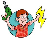 Cartoon electrician logo. Cartoon electrician holding a drill and stylised electricity Stock Photo