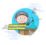 Cartoon Electrician Repairing Fan Vector Graphic royalty free illustration