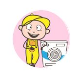 Cartoon Electrician Standing with Washing Machine Vector vector illustration